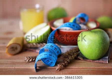 Vitamin apples breakfast cereal diet - stock photo