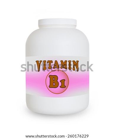 Vitamin B1 container, isolated on a white background - stock photo
