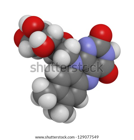 Vitamin B2 (riboflavin), molecular model. Atoms are represented as spheres with conventional color coding: hydrogen (white), carbon (grey), oxygen (red) - stock photo