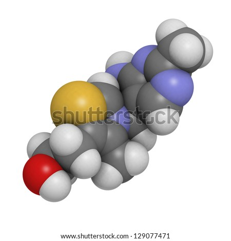 Vitamin B1 (thiamine), molecular model. Atoms are represented as spheres with conventional color coding: hydrogen (white), carbon (grey), oxygen (red), sulfur (yellow), nitrogen (blue) - stock photo