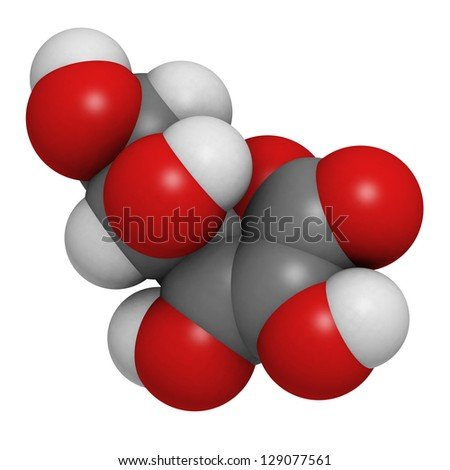 Vitamin C (ascorbic acid), molecular model. Atoms are represented as spheres with conventional color coding: hydrogen (white), carbon (grey), oxygen (red) - stock photo
