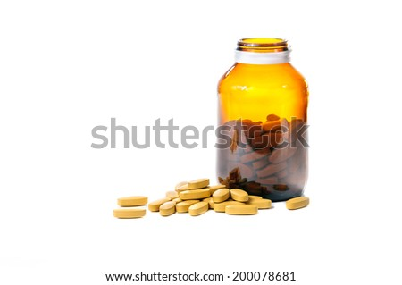 Vitamin C on white background - stock photo