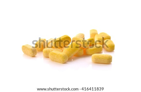 Vitamin C pills isolated on white background . - stock photo