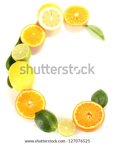 Vitamin C posted products which contain it isolated on white - stock photo