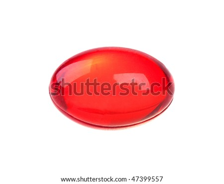 Vitamin capsule isolated on white background