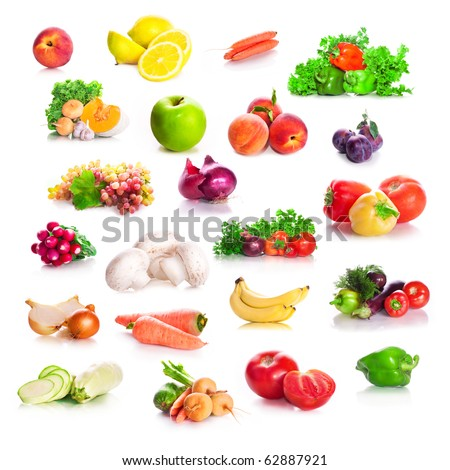 vitamin collection from vegetables and fruit and greens leaves of green salad, parsley, fennel isolated on white background with shade - stock photo