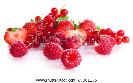 vitamin collection of berries: sour a currant, ripe red a strawberry with leaves and a sweet raspberry isolated on a white background - stock photo