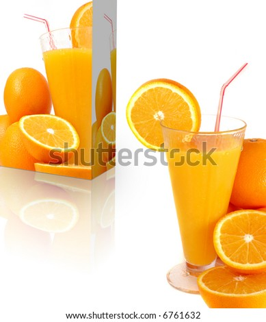 vitamin concept with oranges and juice box