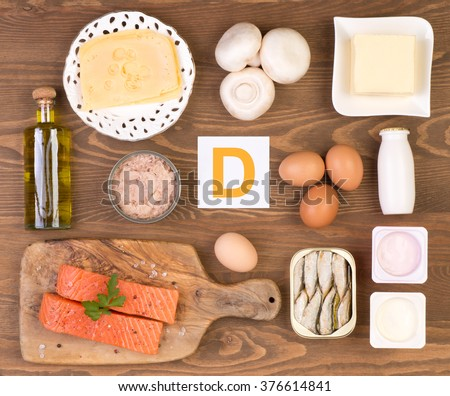 Vitamin D containing foods - stock photo