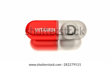 Vitamin D in red capsule. Conceptual image for health concepts. - stock photo