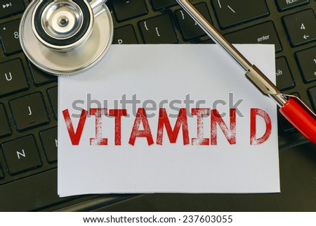Vitamin D sign and stethoscope. Vitamin D sign and stethoscope. Medicine concept on computer keyboards - stock photo