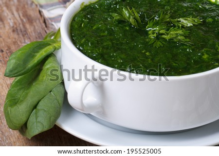 Vitamin green spinach soup close-up on the table. horizontal  - stock photo