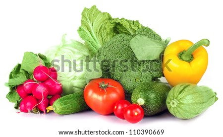 vitamin set of vegetables from the  large turnip, beets, zucchini orange and yellow pepper with green sprigs radish bright and fresh large cabbage green cucumber  isolated on white background - stock photo
