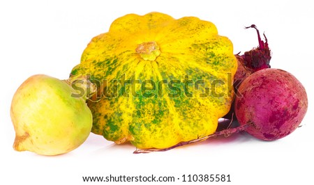 vitamin set of vegetables from the  large turnip, beets, zucchini orange and yellow with green sprigs of fresh isolated on white background - stock photo