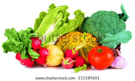vitamin set of vegetables from the large turnip, beets, zucchini orange and yellow with green sprigs radish bright and fresh green salad leaves of fresh, tomato, garlic, isolated on white background - stock photo