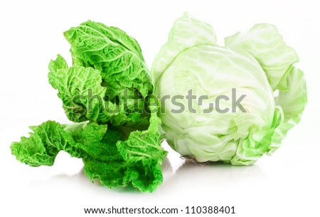 vitamin set of vegetables greens cabbage; lettuce green salad leaves of fresh isolated on white background - stock photo