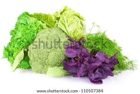 vitamin set of vegetables greens cabbage; lettuce green salad leaves parsley, dill, Basil, lettuce, broccoli of fresh isolated on white background