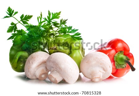 Vitamin vegetable collection: mushrooms, papers, greens isolated on a white background - stock photo