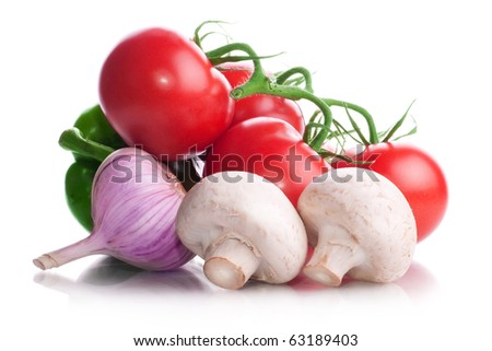Vitamin vegetable collection: mushrooms, tomatoes, garlic isolated on a white background - stock photo