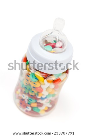 Vitamins in feeding bottle, healthcare concept - stock photo