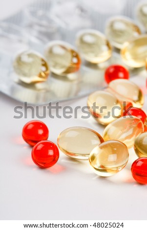 vitamins on the white background - stock photo