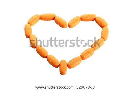 Vitamins spread out in the form of heart