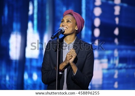 VITEBSK, BELARUS - JULY 18: French singer Imany performs during the 25th Slavyansky Bazar Festival on July 18, 2016 in Vitebsk, Belarus