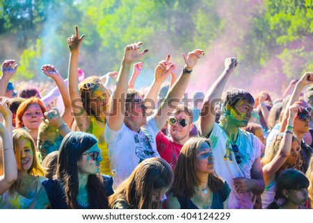 Vitebsk, Belarus - July 4, 2015: Throwing color at the Holi color festival