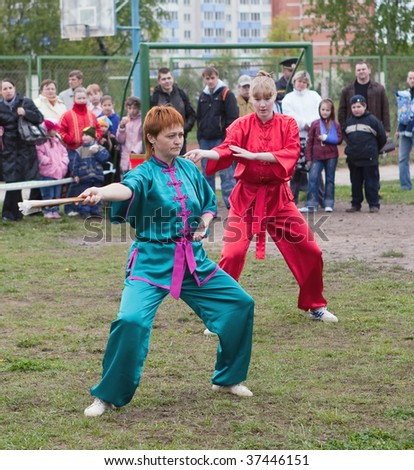 VITEBSK, BELARUS - MAY 16: Performance of group of oriental combat sports on sports holiday May, 16, 2009 in Vitebsk, Belarus. - stock photo
