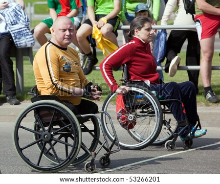 VITEBSK, BELARUS - MAY 15: Start of sportsmen-invalids on a sports holiday May, 15, 2010 in Vitebsk, Belarus - stock photo