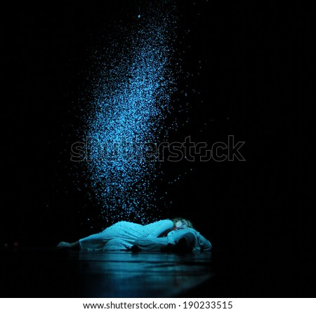 "VITEBSK, BELARUS - NOVEMBER 22: Members of the Yevgeny Panfilov Ballet Studio from Perm perform ""Romeo and Juliet"" during IFMC on November 22, 2013 in Vitebsk, Belarus - stock photo"