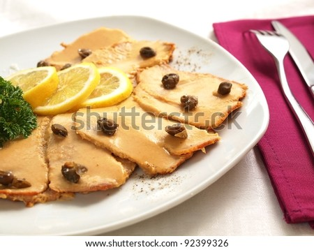 Vitello tonnato - veal with tuna sauce - stock photo