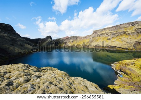 Viti is a beautiful crater lake of a turquoise color located at Laki on the South of Iceland, HDR. - stock photo
