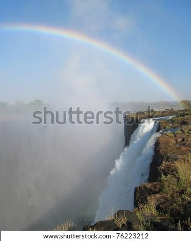 Vitoria Falls rainbow in Zambia - stock photo