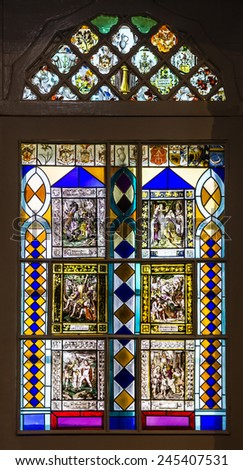 Vitrage window in church of famous Sintra palace, Portugal