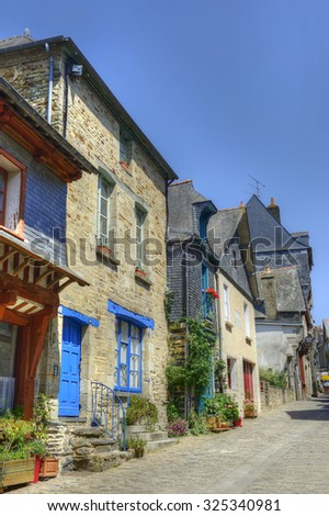 VITRE, FRANCE - JUNE 30, 2015: The houses of the old town of Vitre. Vitre is old historic town, it is a tourist attraction of Brittany, northwestern France.