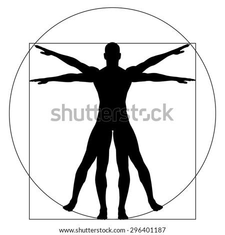 Vitruvian Human Man Concept Metaphor Conceptual Stock Illustration