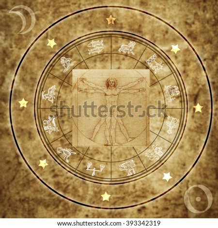 Vitruvian man and astrology - stock photo
