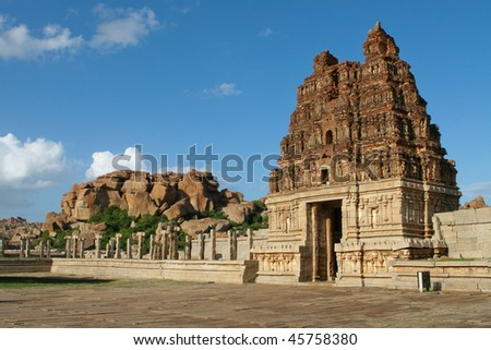 Vittala temple in Hampi, Karnataka province, South India, UNESCO world heritage site. - stock photo
