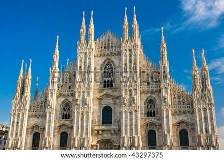 Vittorio Emanuele gallery and Duomo in Milan, Italy - stock photo