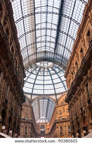 Vittorio Emanuele gallery in Milan, Italy - stock photo