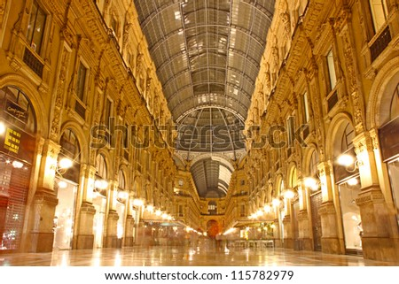 Vittorio Emanuele gallery taken in Milan, Italy - stock photo