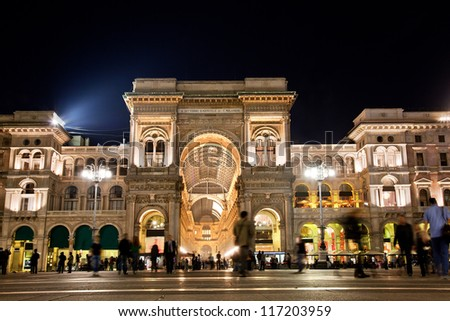 Vittorio Emanuele II Gallery at Piazza del Duomo in Milan. Lombardy, Italy. - stock photo