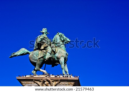 Vittorio Emanuele II statue in Milan's Cathedral Dome Square - stock photo