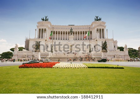 Vittorio Emanuele monument during sunny day in the city of Rome, Italy. - stock photo