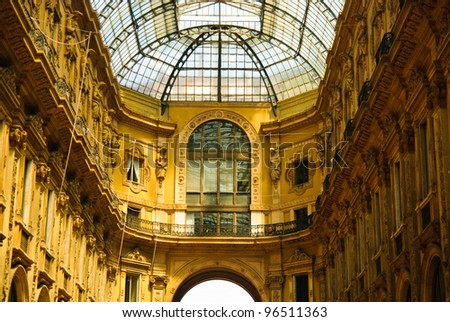 Vittorio Emmanuele gallery magnificent interior, Milan, Italy - stock photo