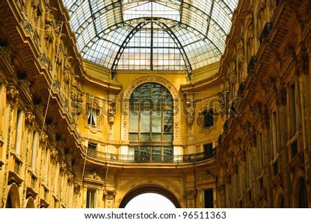 Vittorio Emmanuele gallery magnificent interior, Milan, Italy - stock photo