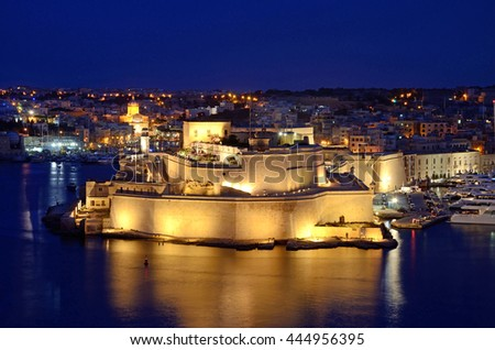 VITTORIOSA, MALTA - JUNE 12 2016: Fort Saint Angelo was originally built in the medieval period as a castle and was rebuilt as a bastioned fort  between the 1530s and the 1690s.