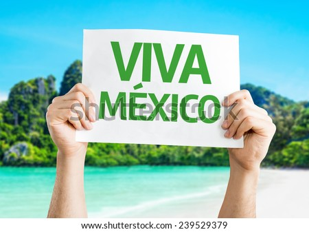Viva Mexico card with a beach on background - stock photo