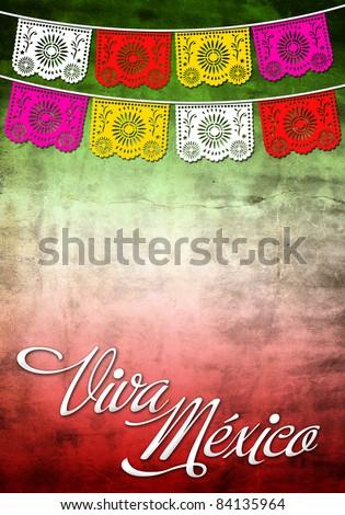 Viva Mexico poster - stock photo